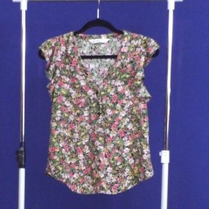 Zara colorful floral blouse